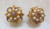 Vintage Floral Design Faux Pearl Clip On Earrings By Adrien Mann.